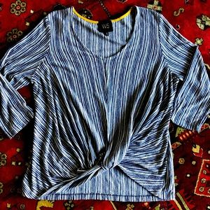 W5 Anthropologie Striped Tie Gather Front Top Lg